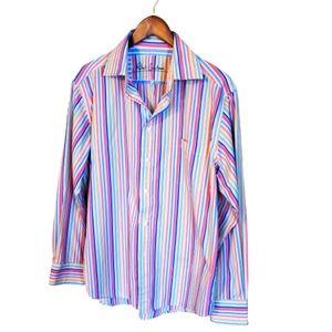 Robert Graham pastel striped flip cuff shirt L